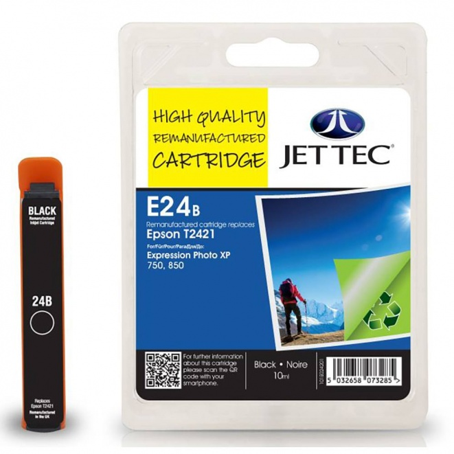 Epson T2421 Black Remanufactured Ink Cartridge by JetTec - E24B