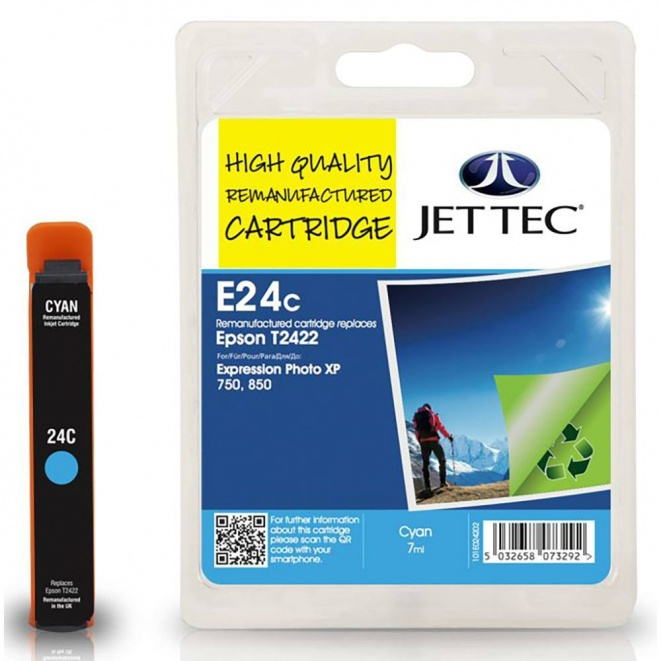 Epson T2422 Cyan Remanufactured Ink Cartridge by JetTec - E24C