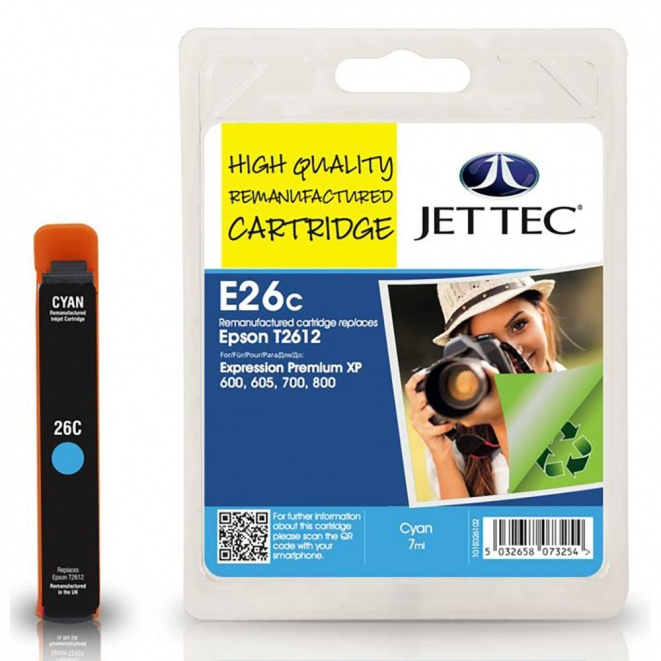 Epson T2612 Cyan Remanufactured Ink Cartridge by JetTec - E26C