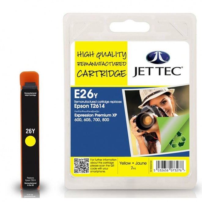 Epson T2614 Yellow Remanufactured Ink Cartridge by JetTec - E26Y