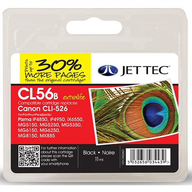 Canon CLI526 Black Remanufactured Ink Cartridge by JetTec  CL56B