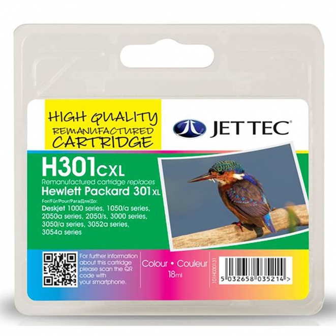 HP301XL COL CH564EE Colour Remanufactured JetTec Ink Cartridge H301CXL