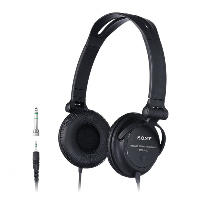 Sony MDR-V150 Headphones with Reversible Ear Cups for DJ Monitoring  - Black