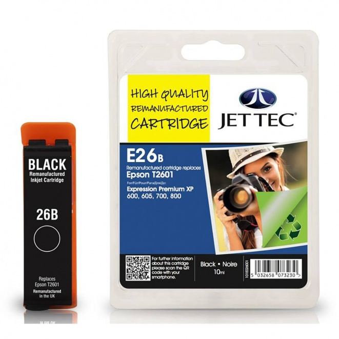 Epson T2601 Black Remanufactured Ink Cartridge by JetTec E26B