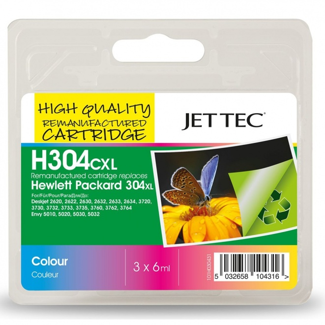 HP304XL N9K07AE Colour Remanufactured Ink Cartridge by JetTec H304CXL