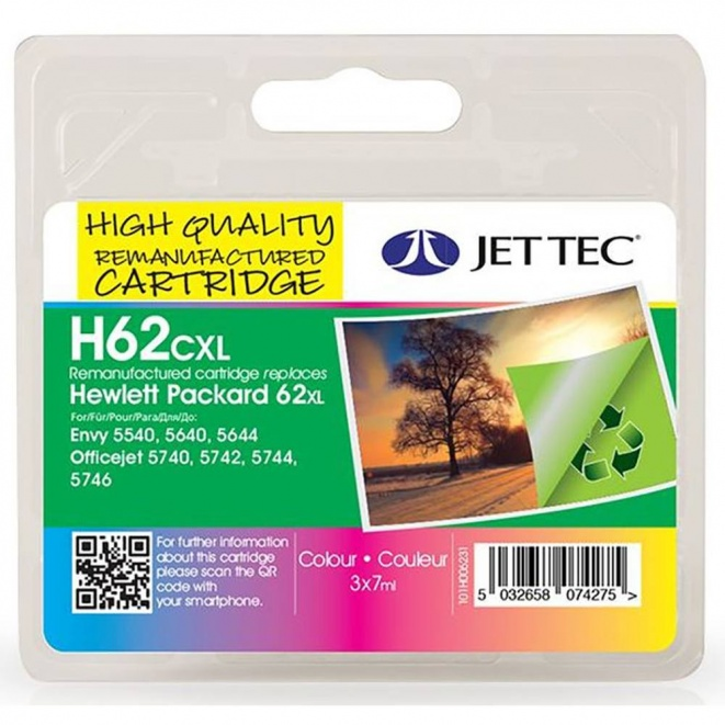 HP62XL C2P07AE Colour Remanufactured Ink Cartridge by JetTec H62CXL