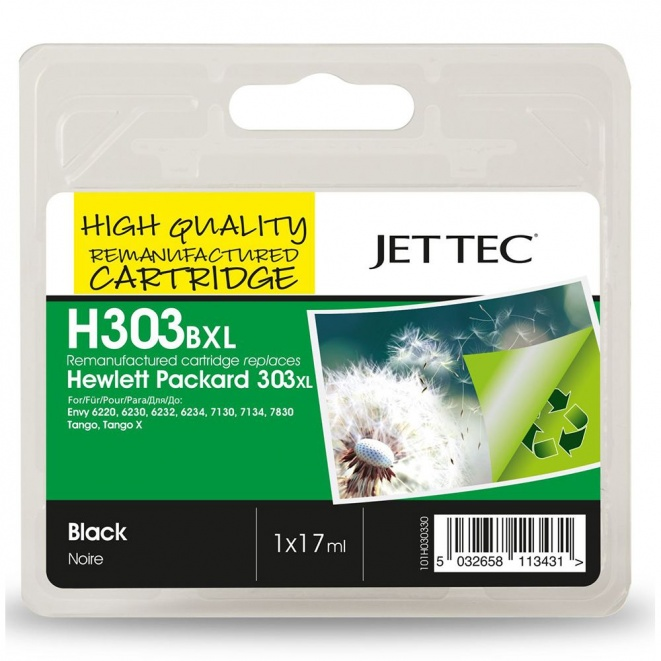 HP303XL T6N04AE Black Remanufactured Ink Cartridge by JetTec H303BXL