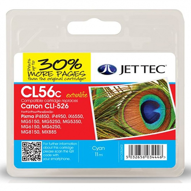 Canon CLI526 Cyan Remanufactured Ink Cartridge by JetTec CL56C