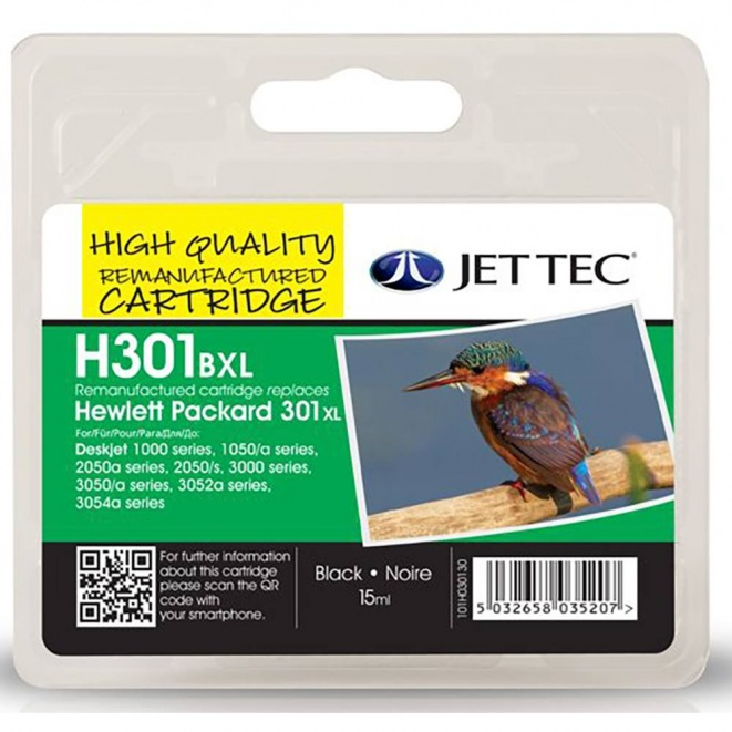 Hewlett Packard / Compaq HP301XL BLK CH563EE Black Remanufactured JetTec Ink Cartridge H301BXL