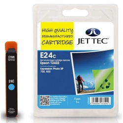 Epson T2422 Cyan Remanufactured Ink Cartridge by JetTec E24C