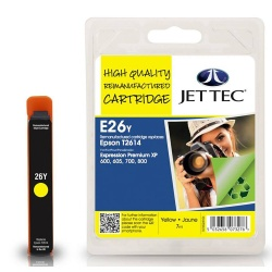 Image of Epson T2614 Yellow Remanufactured Ink Cartridge by JetTec E26Y