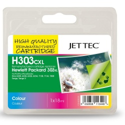 HP303XL T6N03AE Colour Remanufactured Ink Cartridge by JetTec H303CXL