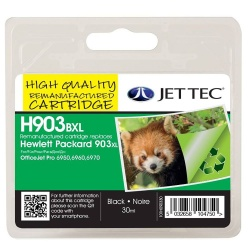 HP903 XL Black High Yield Remanufactured Ink Cartridge by JetTec H903BXL