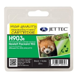 HP903XL Black Remanufactured Ink Cartridge by JetTec H903B