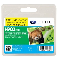Image of HP903XL Cyan Remanufactured Ink Cartridge by JetTec H903CXL